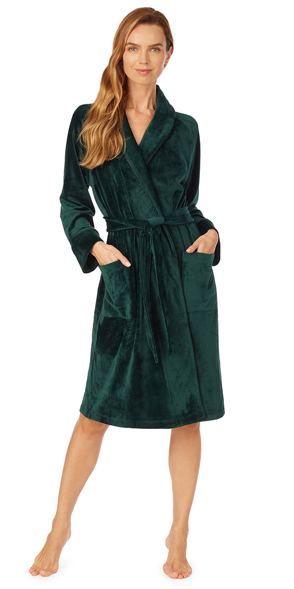 Evergreen Velour Wrap Robe