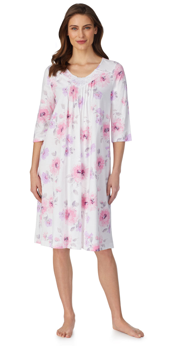 Romantic Blooms 3/4 Sleeve Waltz Soft Jersey Nightgown