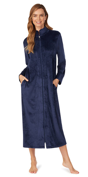 Deep Navy Velour Zip Robe
