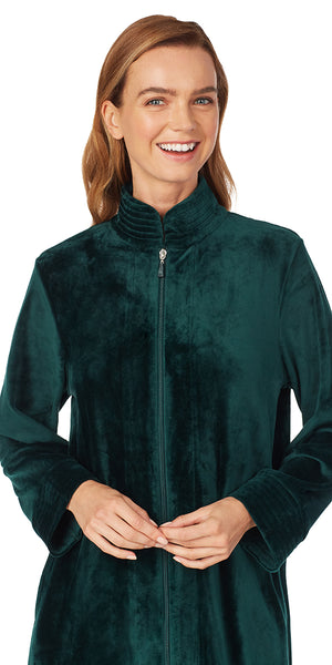 Evergreen Velour Zip Robe