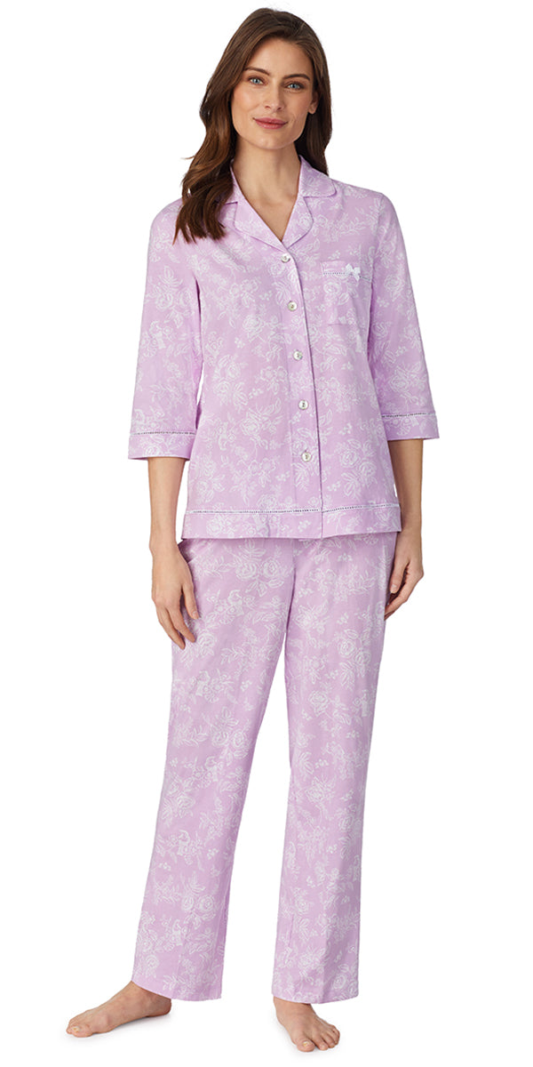 Lilac Toile 3/4 Sleeve Classic Soft Jersey Notch Pajama