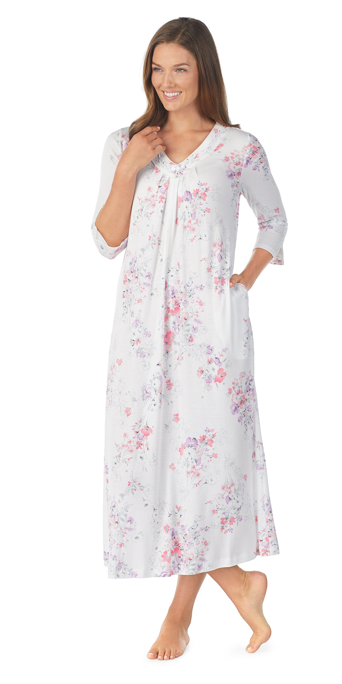 Floral Brushed Interlock 3/4 Sleeve Long Gown
