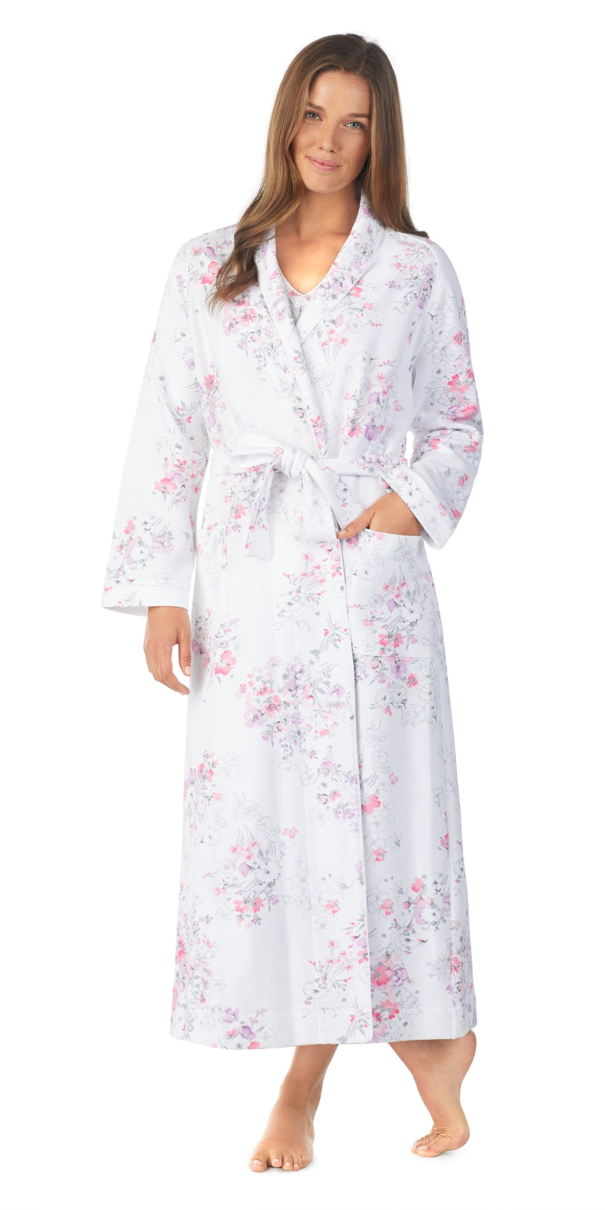 Floral Diamond Quilt Long Wrap Robe