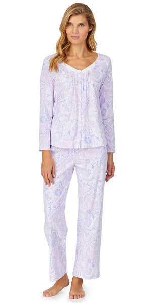 Purple Paisley Soft Jersey Long Sleeve And Long Pant PJ Set