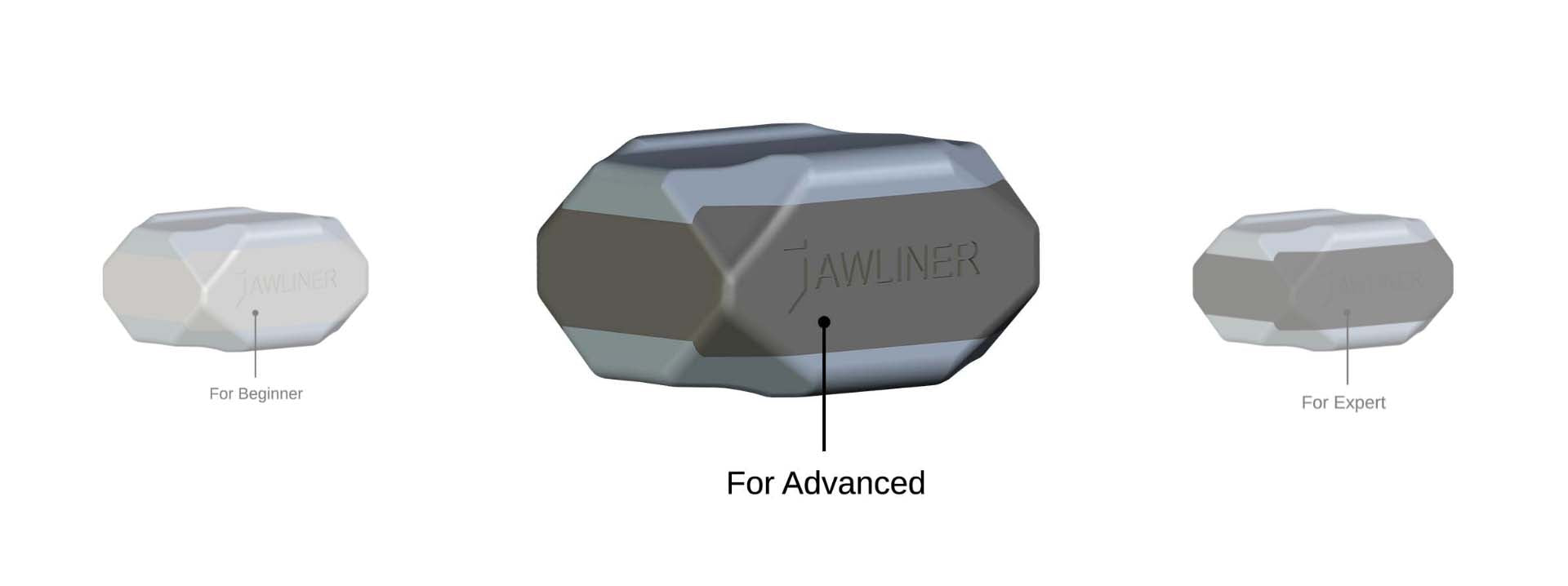 the picture shows the jawliner 3.0 advanced and vs. the jawliner 3.0 beginner vs. the jawliner 3.0 expert