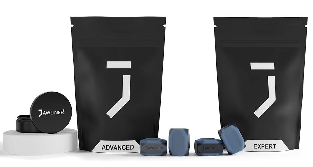 the picture shows the jawliner 3.0 professional advanced and expert pack which contain jawliner advanced, jawliner expert with the jawliner bag and the jawliner tin