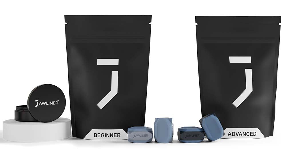 the picture shows the jawliner 3.0 beginner and advanced pack which contain jawliner beginner, jawliner advanced with the jawliner bag and the jawliner tin
