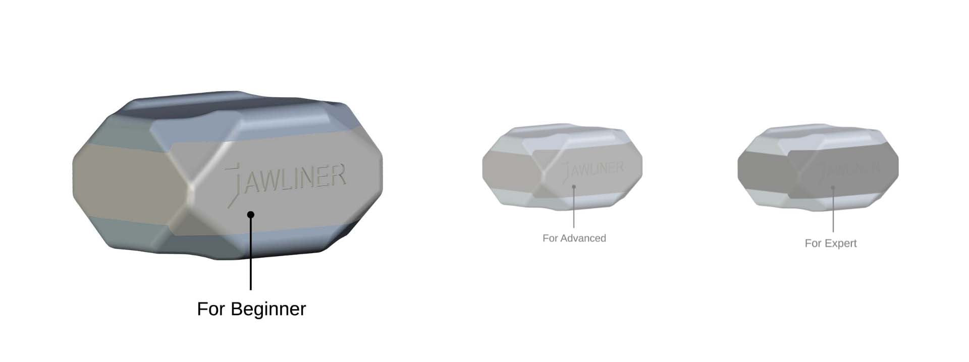 the picture shows the jawliner 3.0 beginner and vs. the jawliner 3.0 advanced vs. the jawliner 3.0 expert