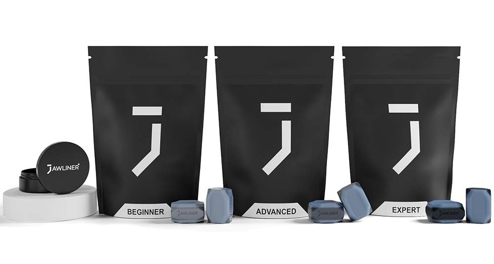 the picture shows the jawliner 3.0 bundle pack which contain jawliner beginner, jawliner advanced and jawliner expert with the jawliner bag and the jawliner tin