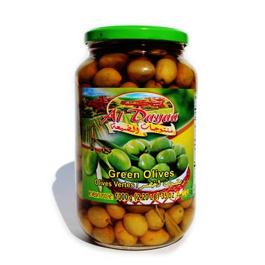 Al Dayaa Green Olives, 1000g - Papaya Express