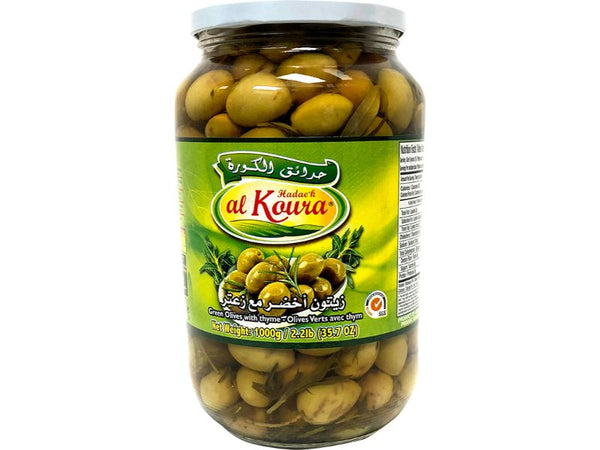 Al Koura Green Olives Thyme, 1000g - Papaya Express