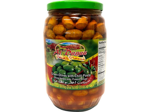 Al Dayaa Green Olives With Chili, 1700g - Papaya Express
