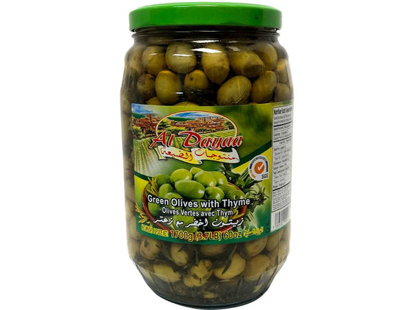 Al Dayaa Green Olives With Thyme Large, 1700g - Papaya Express