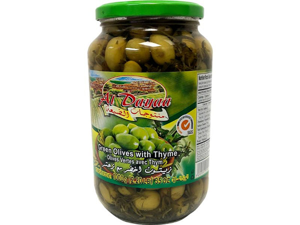 Al Dayaa Green Olives Thyme, 1000g - Papaya Express