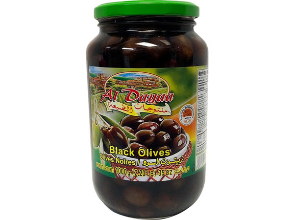 Al Dayaa Black Olives Large, 1000g - Papaya Express