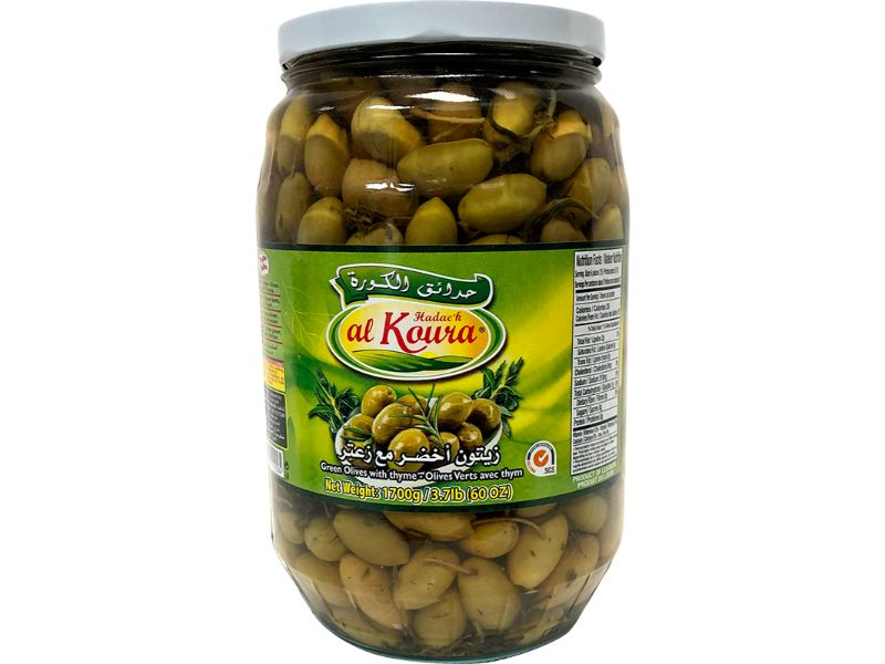 Al Koura Green Olives Thyme Large, 1700g - Papaya Express
