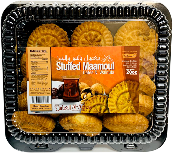 Al-Abbas Cookies Stuffed Maamoul Dates & Walnuts 20oz - Papaya Express