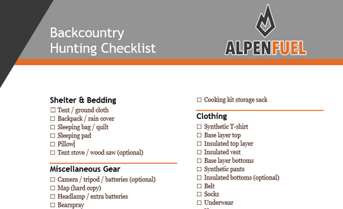 Alpen Fuel Backpack Hunting Checklist - Word File