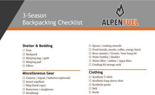 Alpen Fuel 3-Season Backpacking Checklist - Word File