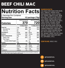 Load image into Gallery viewer, Peak Refuel Beef Chili Mac Meal