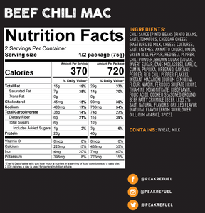 Peak Refuel Beef Chili Mac Meal