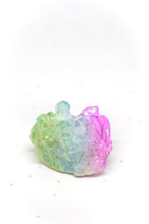 Green, Blue, Purple Aura Quartz Cluster