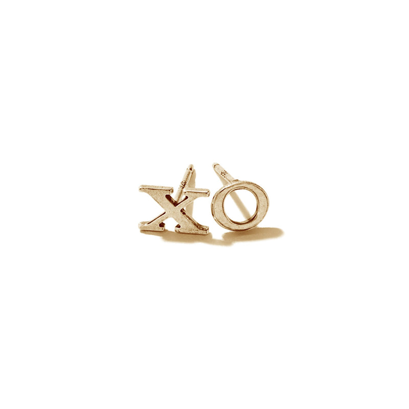 "Tiny Sterling Silver & Vermeil ""Xo"" Earrings 