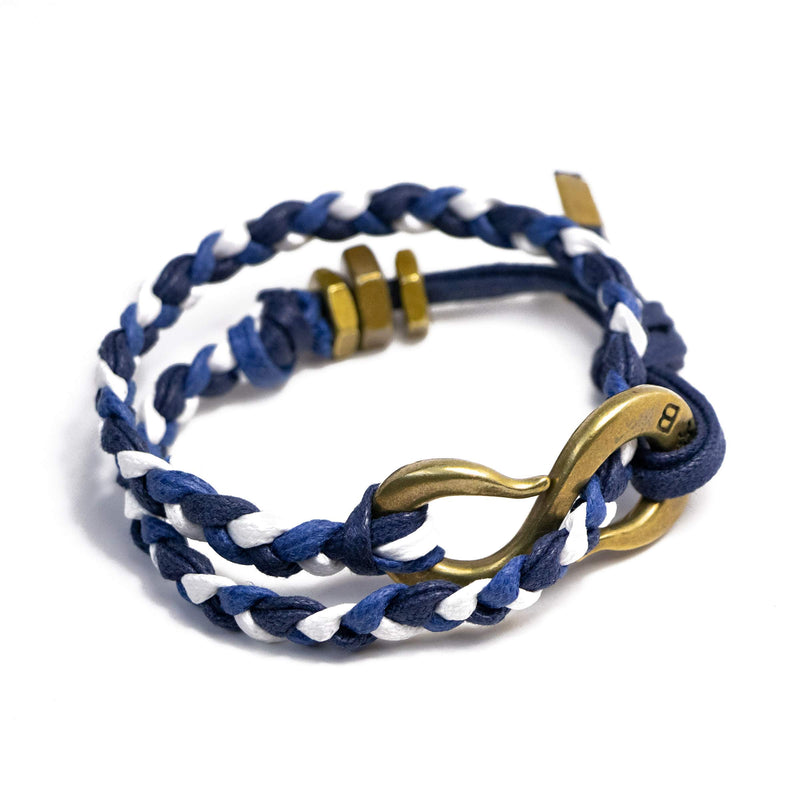 Braided Multi Color Waxed Cotton S Hook Wrap Bracelet | Giles & Brother