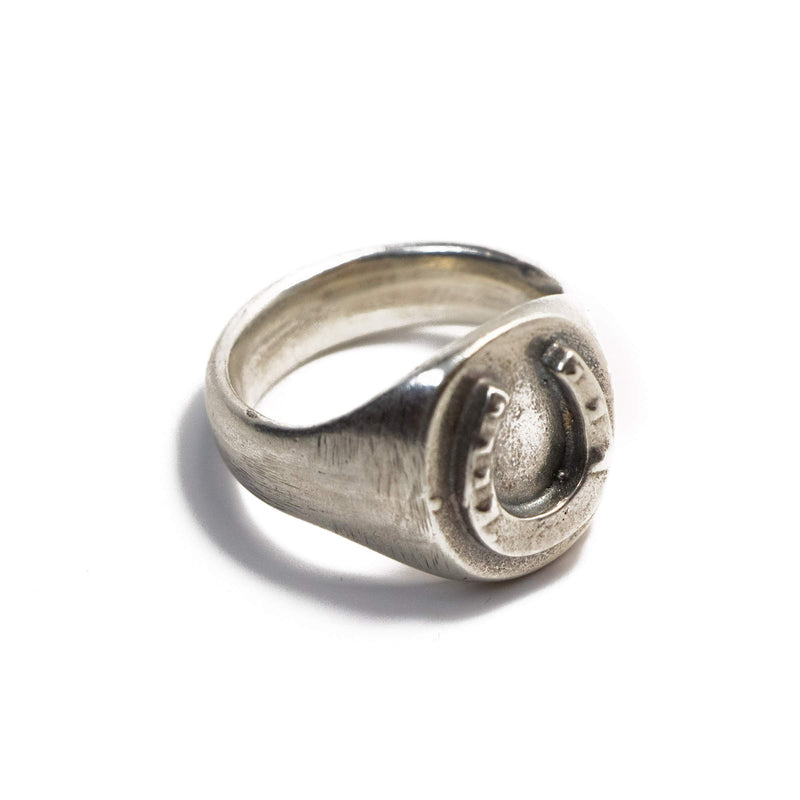 Horseshoe Signet Ring In Sterling Silver | Giles & Brother