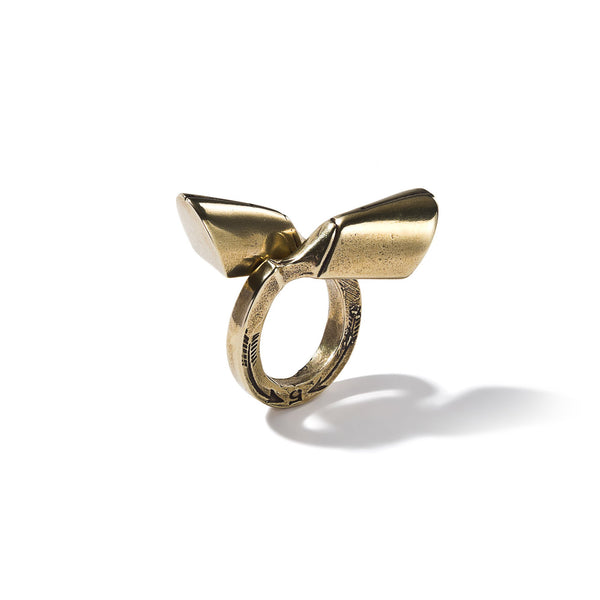 Pied-De-Biche Double Hoof Ring In Brass | Giles & Brother