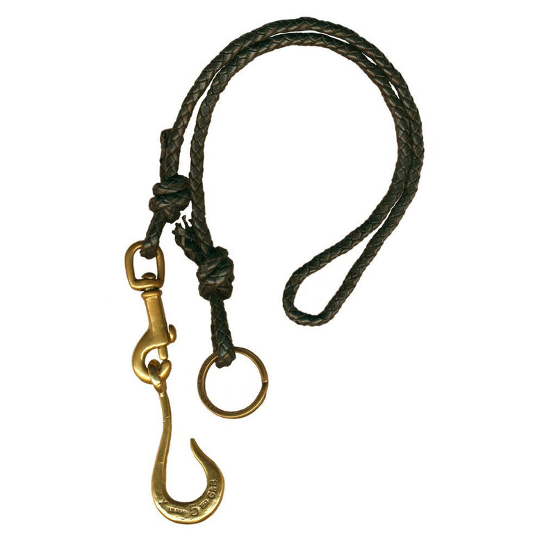 Black Braided Leather Clip With Large Hook | Giles & Brother