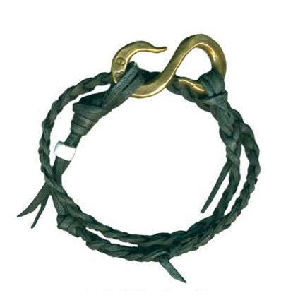 Black Leather Braided S Hook Wrap Bracelet | Giles & Brother