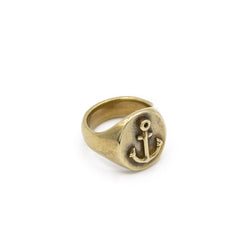 Anchor Signet Ring In Antique Brass