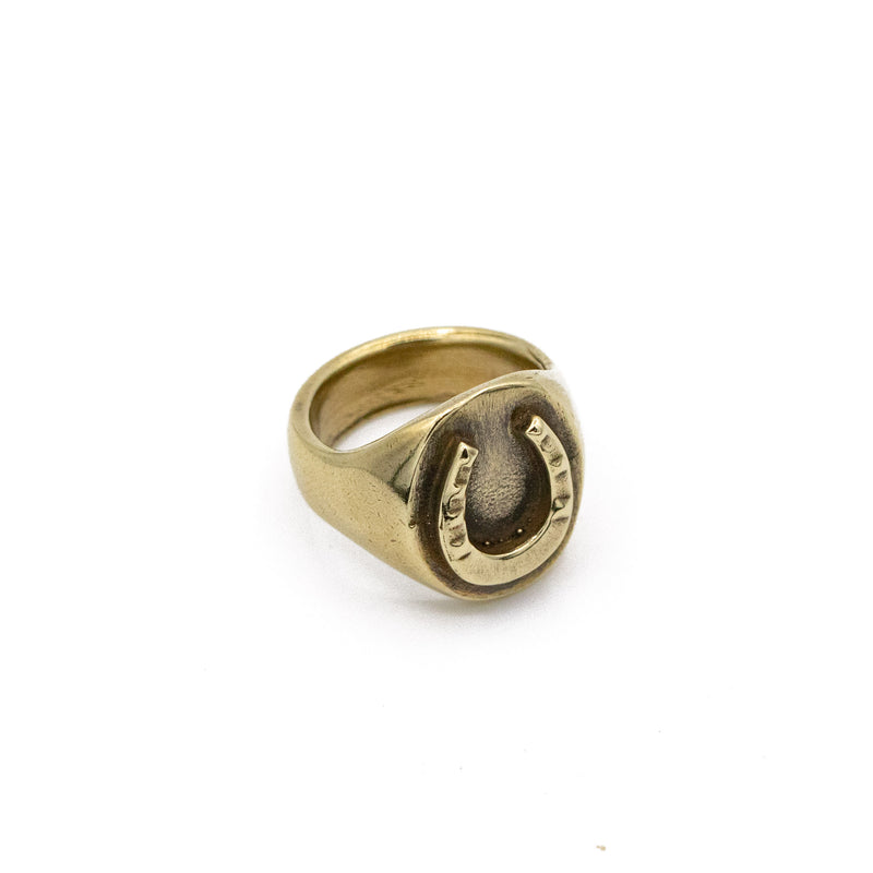 Horseshoe Signet Ring In Antique Brass