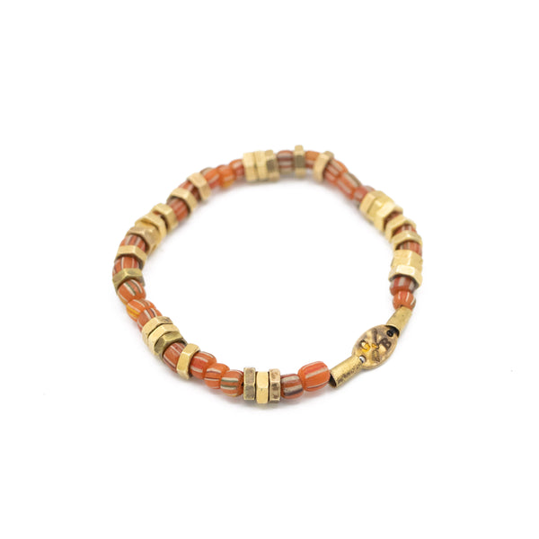 Vintage Striped Beaded Stretch Bracelet