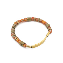 ID Bar Vintage Striped Beaded Stretch Bracelet