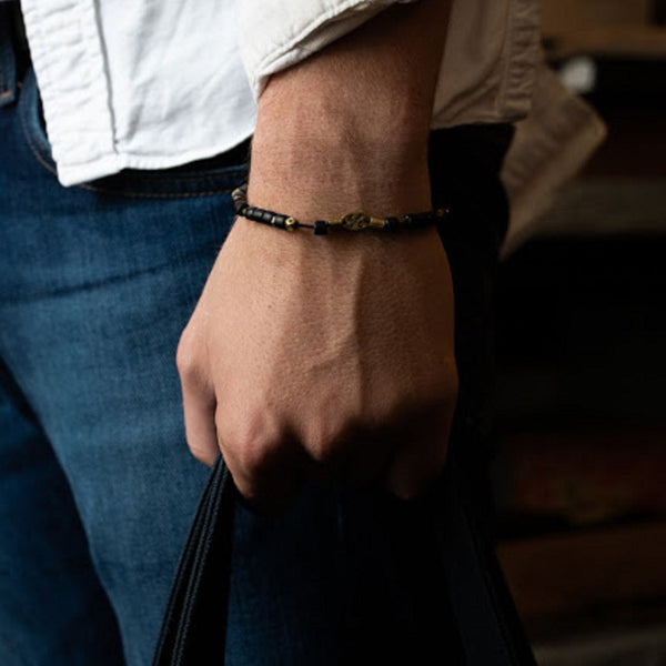 Black And Brass African Bead Bracelet | Giles & Brother