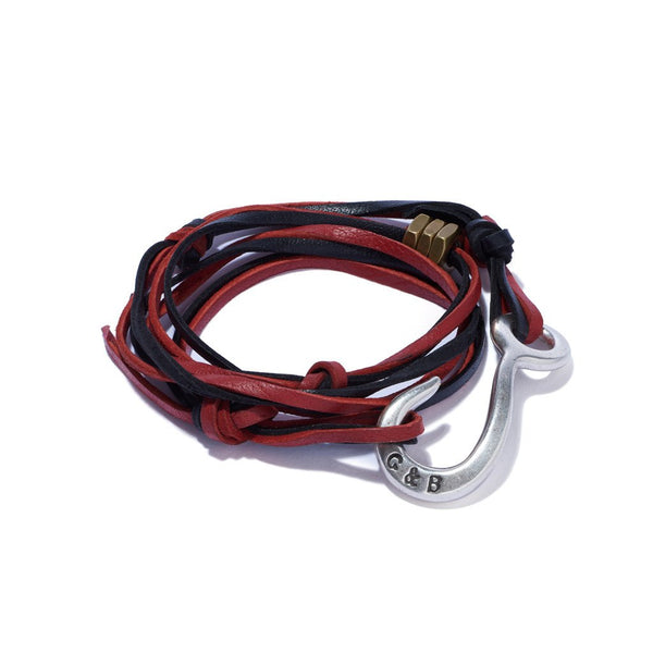Leather Lash Hook Wrap Bracelet Black & Red | Giles & Brother