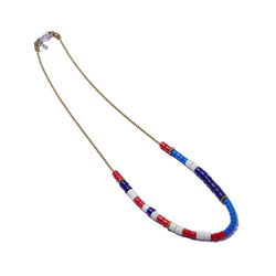 Masai Bead & Ball Chain Necklace Blue, Red & White
