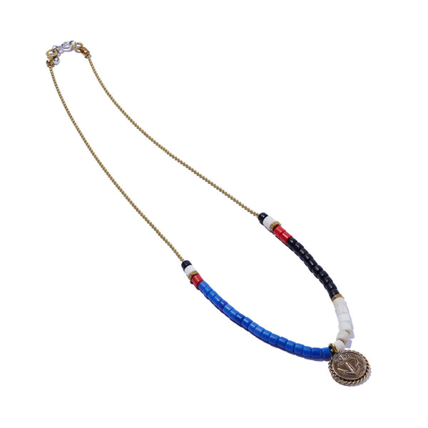 Masai Bead & Ball Chain Necklace With Anchor Charm | Giles & Brother