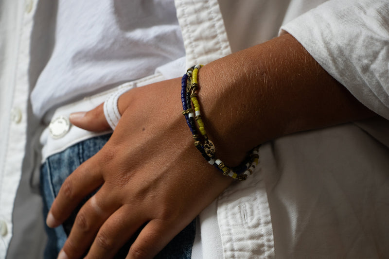 Tiny Vintage African Bead Stretch Bracelet | Giles & Brother