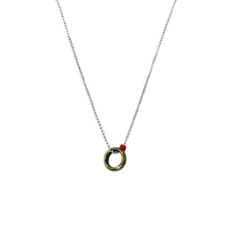 African Brass Ring On Sterling Silver Ball Chain | Giles & Brother