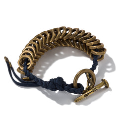 Navy Braided Brass Hex Bracelet With Toggle