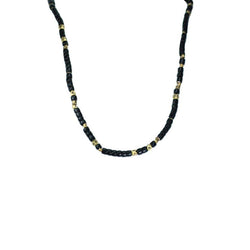 Black And Brass Vintage African Bead Necklace | Giles & Brother