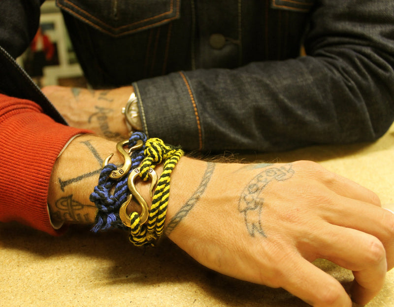 Rope S Hook Bracelet Yellow & Black | Giles & Brother
