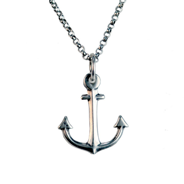 Small Sterling Silver Anchor Necklace | Giles & Brother