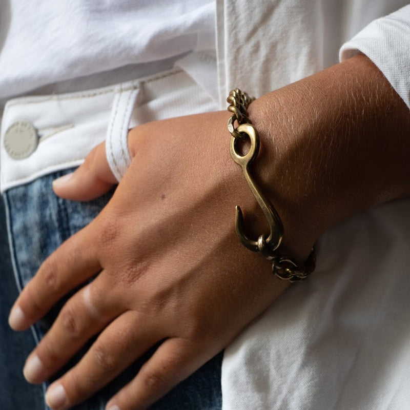 Sterling Silver Hook Id Chain Bracelet | Giles & Brother