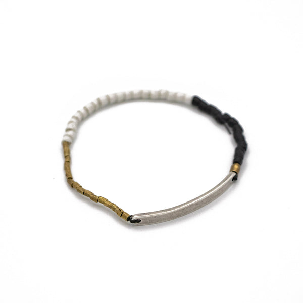 Limited Edition Tri Color Beaded Sterling ID Bar Bracelet