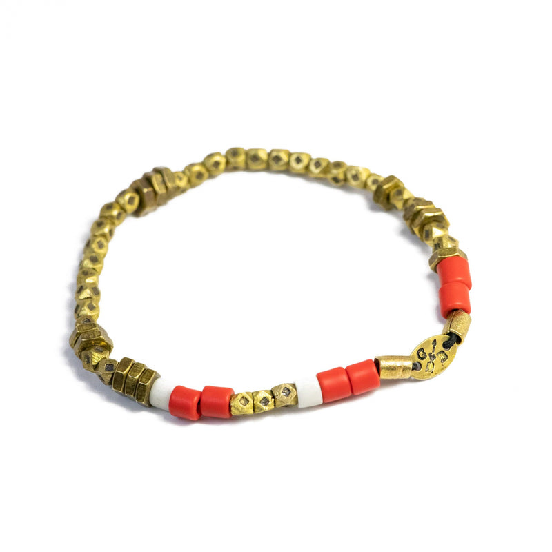 The Brass Beaded Stack with Coral Leather