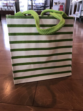 Green Striped Canvas Bag